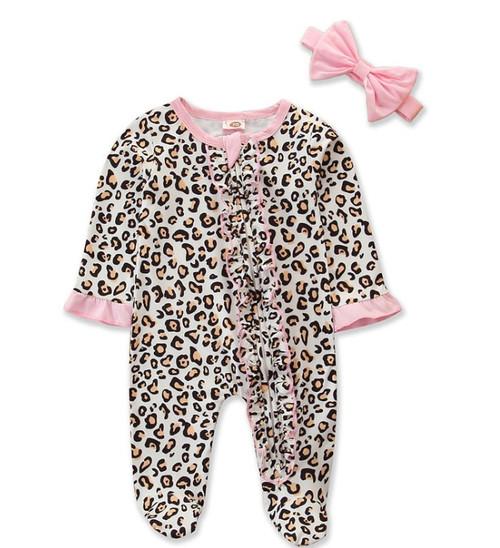baby girls cheetah print zipper footie