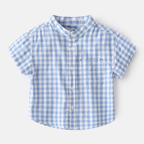 boys blue gingham checkered shirt