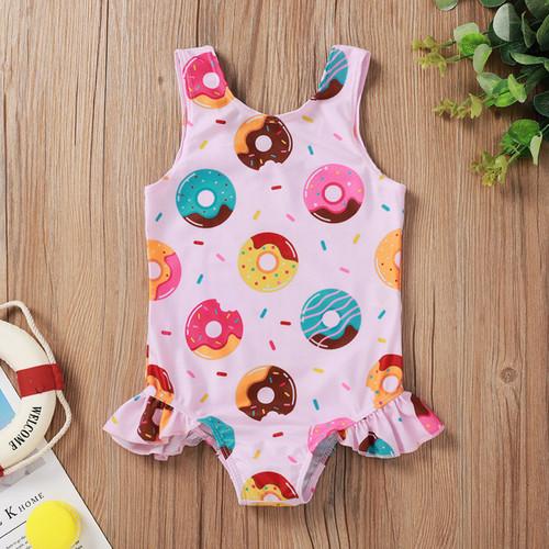 baby girls donut print swimsuit