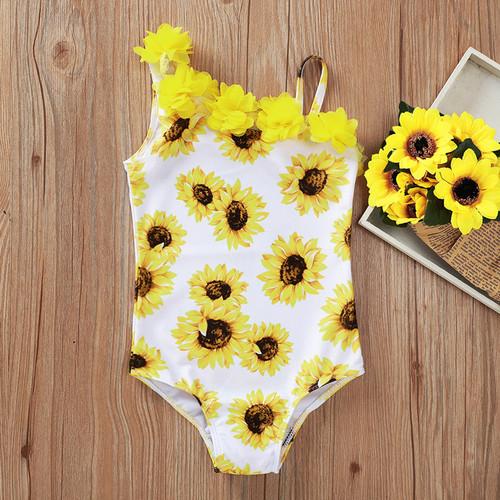 girls sunflower print swimsuit