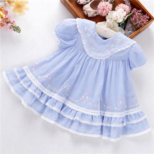 girls blue embroidered dress