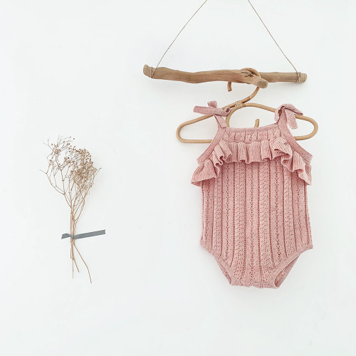 baby girls mauve speckle romper