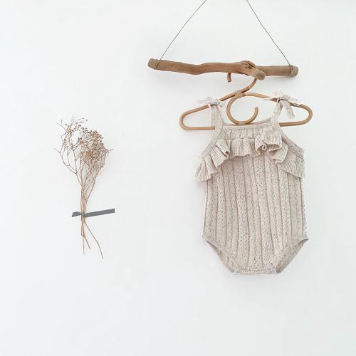 baby girls oatmeal knit romper