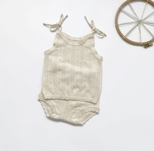 baby girls knit eyelet outfit