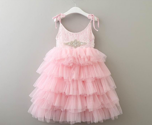 pink spring flower girl dress
