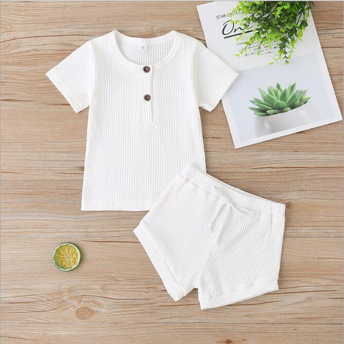 girls cream ribbed summer outfit