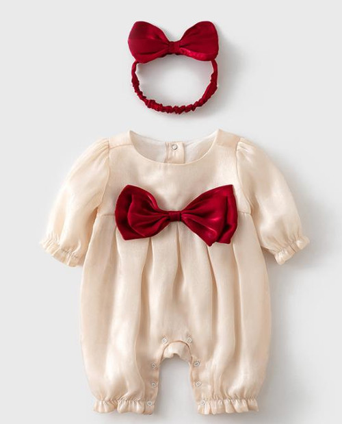 baby christmas romper with bow headband