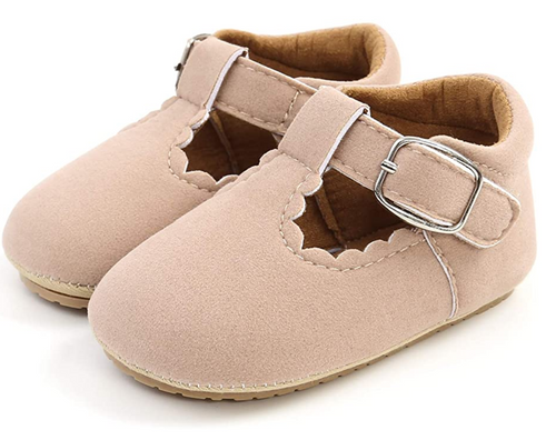 baby suede mary janes beige