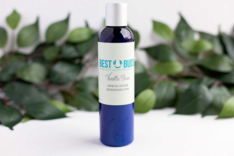 Best Buds 400 MG Vanilla Bean CBD Lotion CBD Topical for pain, soreness, muscle tension and relaxing CBD Cream. Natural Essential Oils for scent