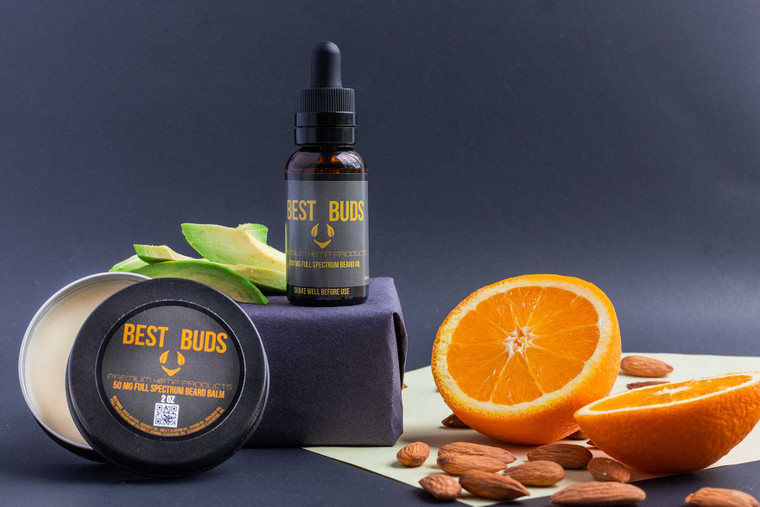 Best Buds Beard Care Kit with Beard Balm and Beard Oil enriched with CBD Extracts CBD Oils for strong, healthy beards.
