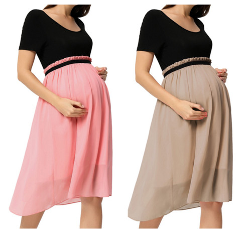 MC Short Sleeve Cotton-Chiffon Maternity Dress
