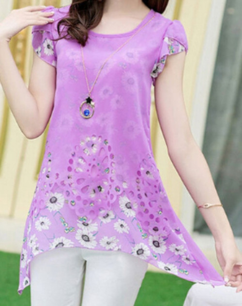 Purple Floral Short Sleeved Chiffon Top