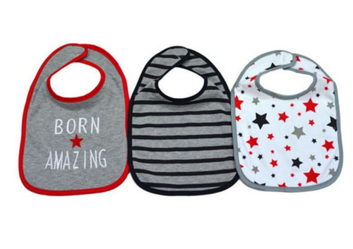 3 Pieces of Washable Cotton Bibs - Born Amazing (free size)