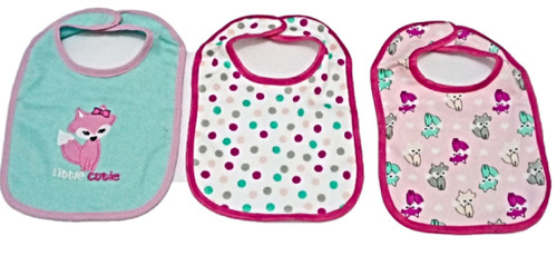 3 Pieces of Washable Cotton Bibs - Little Cutie (free size)