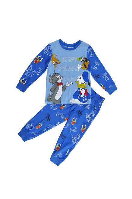 Blue Long Sleeved Pajamas Boys Set - Cat & Mouse prints