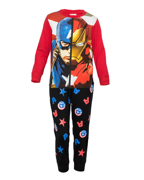 Boys Red-Black Long Sleeved Pajamas Set - Captain America & Tony Stark
