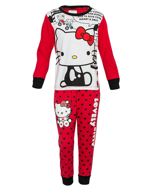 Red Long Sleeved Girls Pajama Set with Lovely Kitty