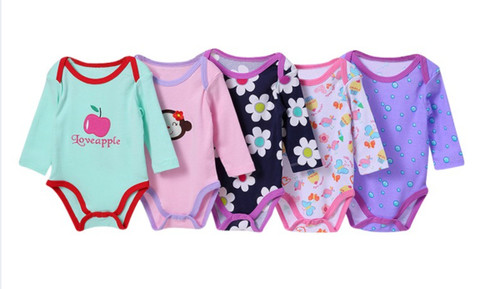 Carter's 5 Pack Girls Long Sleeved Cotton Bodysuits/Rompers