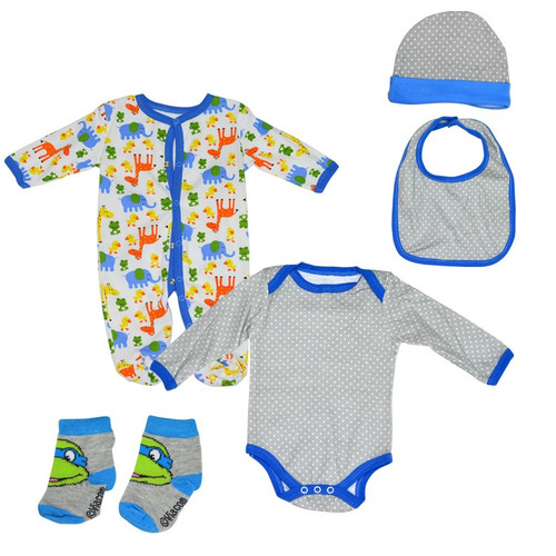 Fashion Baby 5 Piece Jumpsuit Set - Grey & Blue
