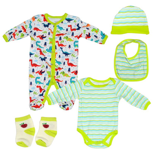 Fashion Baby 5 Piece Jumpsuit Set - White & Green