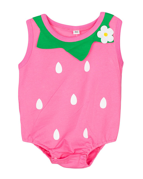 Cute Baby Cotton Vest Rompers / Bodysuits - Pink (6m - 18m)