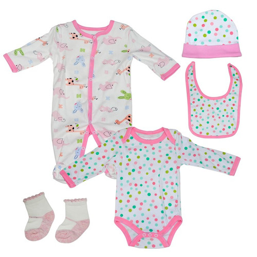 Fashion Baby 5 Piece Jumpsuit Set - White & Pink
