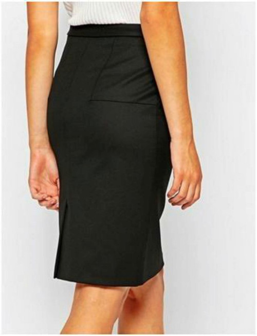 Black Fashionable Ladies Office Skirt with side Belts