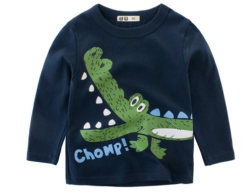 Boys Blue Long Sleeved 2-Colour Tee (1-10yrs) - Chomp print