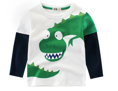 Boys White Long Sleeved 2-Colour Tee (1-10yrs) - Chomp print