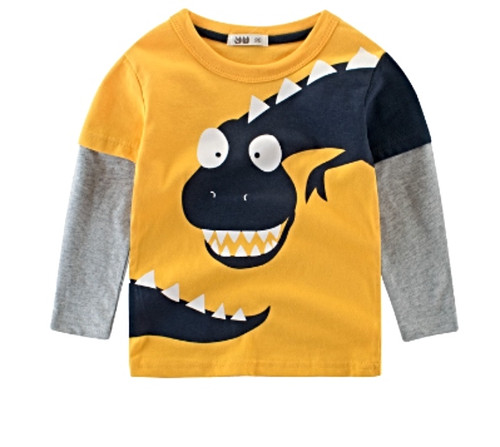 Boys Yellow Long Sleeved 2-Colour Tee (1-10yrs) - Chomp print