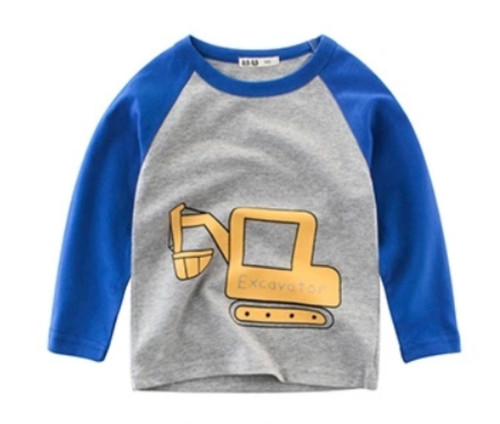 Boys Grey-blue 2-Colour Tee (1-10yrs) - Excavator print