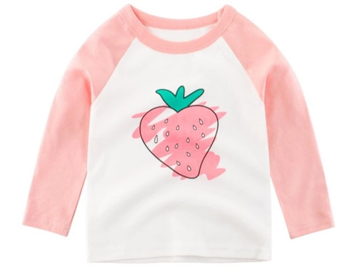 Girls White Long Sleeved 2-Colour Tee (1-10yrs) - Strawberry print