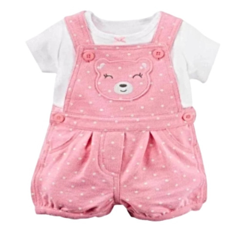 Pink Baby Girl Dungaree 2 Piece Set - (age 6m-18m)