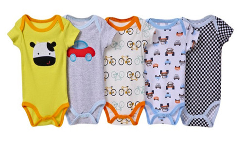 Carters assorted Boys Short Sleeved 5 Pack Cotton Bodysuits - Different Colours