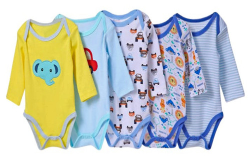 Carters assorted Boys Long Sleeved 5 Pack Cotton Bodysuits - Different Colours