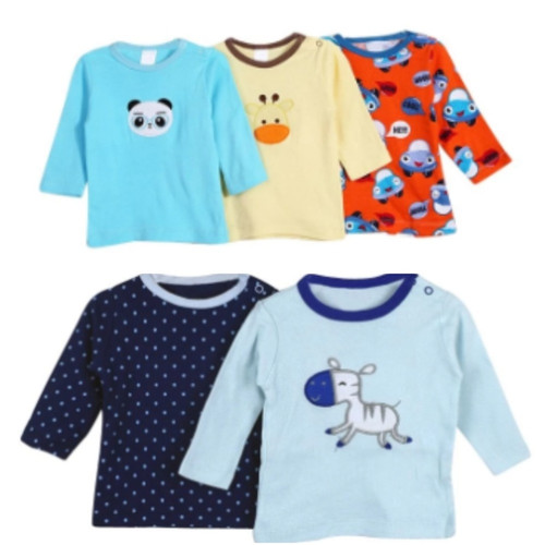 Carter's 5 Pack Boys Long Sleeved Cotton T-shirts - Different colors