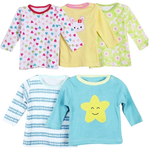 Carter's 5 Pack Baby Girl Long Sleeved Cotton T-shirts - Different colors