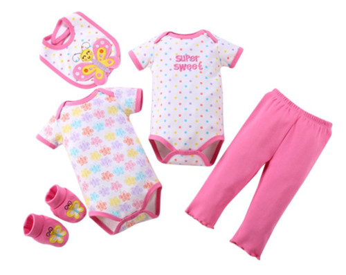 Girls Short Sleeved Tops & Pants 5 Piece Set - Super Sweet