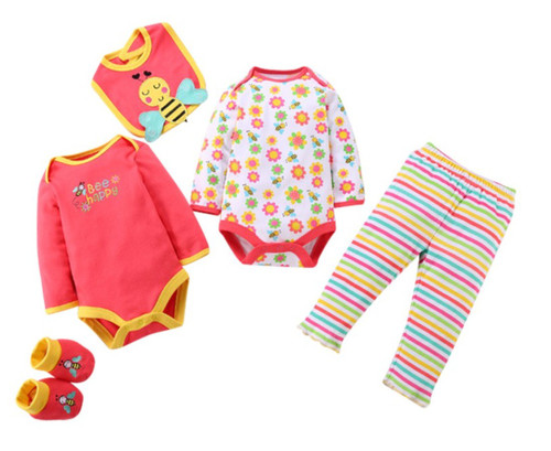 Girls Long Sleeved Tops & Pants 5 Piece Set - Bee Happy