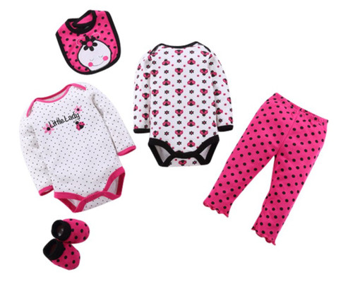 Girls Long Sleeved Tops & Pants 5 Piece Set - Little Lady