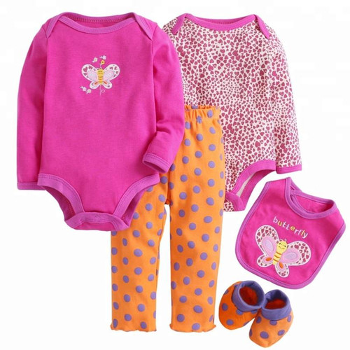 Girls Long Sleeved Tops & Pants 5 Piece Set - Butterfly
