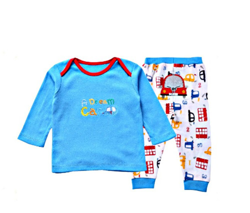 Cotton Baby Boy Blue-White 2 Piece Set - A Dream Car