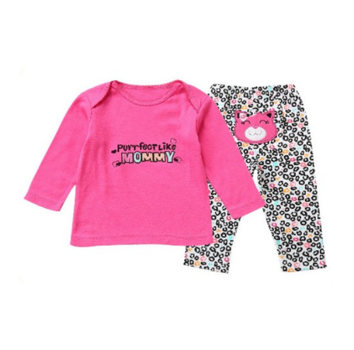 Cotton Baby Girl 2 Piece Clothes Set - Purrfect Like Mommy