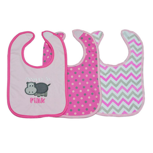 3 Pieces of Washable Cotton Bibs - Pretty in Pink print (free size)
