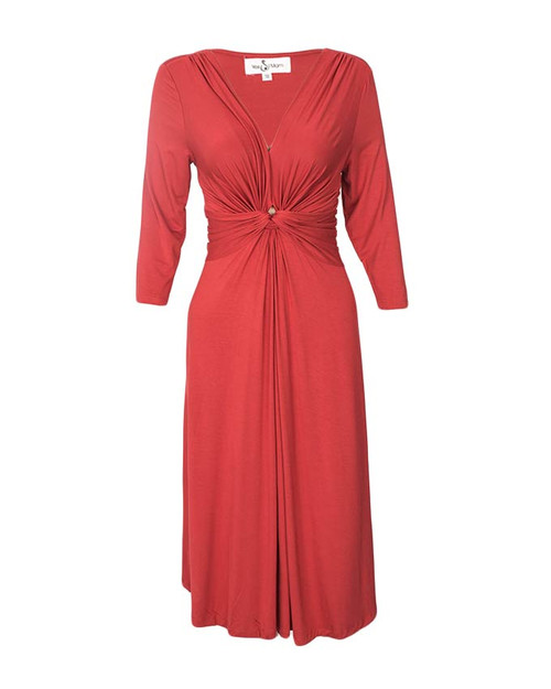 Red Maternity / Pregnancy Rayon Long Sleeve Dress