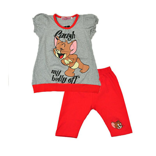 Grey-Red Girls Cotton Dress and Red Leggings Set