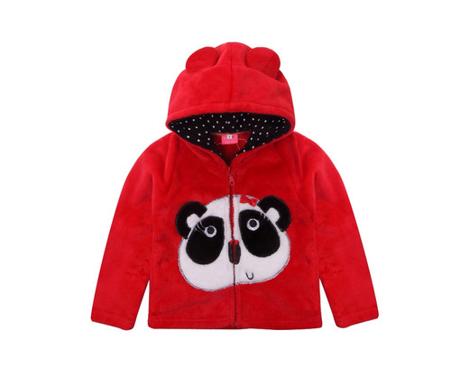 Red Warm Coral Fleece Jacket with Hoodie