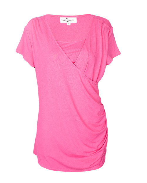 Pink Cotton Nursing/ Maternity Top With Side Gathers