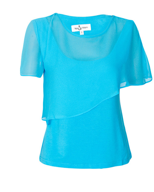 Blue Bearsland Nurisng / Maternity Top with Chiffon Cover