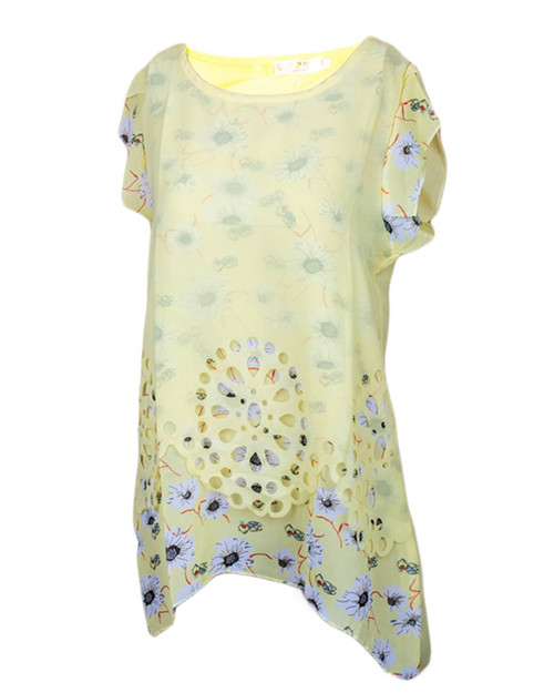 Yellow Floral Short Sleeved Chiffon Top